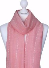 Ladies Pink Striped Scarf Womens Striped Pattern Scarf