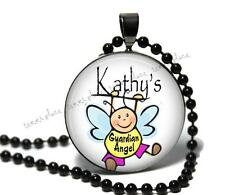 "Custom Guardian Angel Glass Top Pendant Necklace w/ 24"" Chain Personalized Name"
