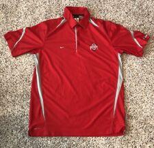 Mens NIKE Ohio State Buckeyes Polo Shirt Mens M Medium Dri-Fit Red Polyester