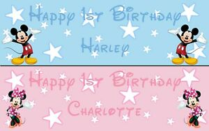 2 PERSONALISED ANY AGE BIRTHDAY BANNERS DISNEY MICKEY MINNIE MOUSE BOY OR GIRL