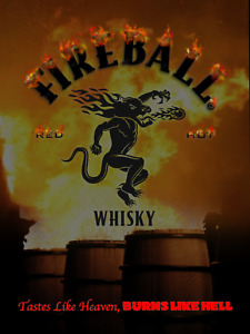 Fireball whiskey 12x16 Burns like hell