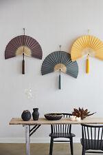 Bamboo Tassel Wall Fan, Retro Mid Century, Spanish Oriental - Grey Yellow Brown
