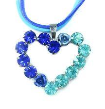 NEU 43cm+6,5cm HALSKETTE Herz STRASSSTEINE blau/hellblau ROSEN blau COLLIER