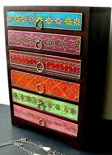 Coloured indian wooden jewellery box drawers jewelry chest