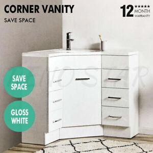 900*900*850mm Freestanding Corner Vanity Gloss White Insert Poly Basin