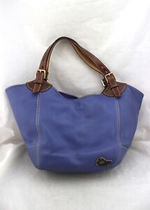 DOONEY & BOURKE Blue Brown Tortoise Shell Duck Leather Shoulder Tote Hobo Bag