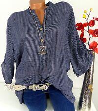 Bluse Shirt Retro Hemd Tunika Top Fischerhemd Oversize Gestreift Blau 46 48