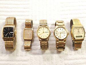 Lot of 5 Men's Citizen Quartz Watches Gold Tone Vintage Dress Analog Digital