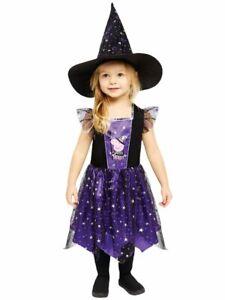 Childs Peppa Pig Halloween Witch Fancy Costume Dress Girls Black Purple