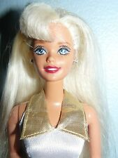 1980s  Blond Barbie Doll in white and gold outfit w earrings, ring & shoes
