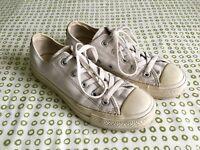 Converse All Star White Leather Low-Top Trainers, UK size 4, EUR 36.5-37