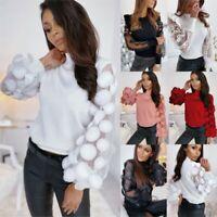 UK Women Lace Mesh Puff Long Sleeve T Shirt Ladies Casual Plain Slim Blouse Tops