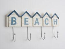 4 Towel Coat Hooks BEACH  Hut White Blue Bathroom Rack Seaside Wooden Nautical