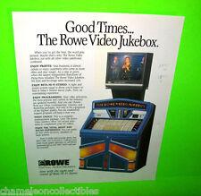 VIDEO JUKEBOX By ROWE AMI 1984 ORIGINAL JUKEBOX MUSIC PHONO SALES FLYER