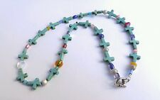 Handcrafted Genuine Turquoise Stone Cross Shaped Beads Beaded Necklace
