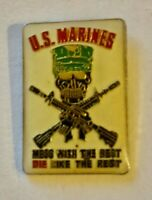 """A vintage US MARINES """"mess with the best die like the rest"""" old enamel badge"""
