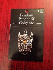 Horizon Group Inc Silver Colored Owl Pendant With Flower Eyes