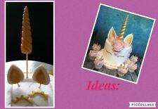 Unicorn Fondant Edible Cake Toppers Set Decoration Gold Horn Eyes & Ears 5 piece