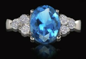 14K Solid White Gold Oval Blue Topaz 5ct Ring