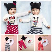 3 Pzas Recién Nacido Niños Bebé Niños Niñas Trajes Ropa Micky Minnie Mouse Set