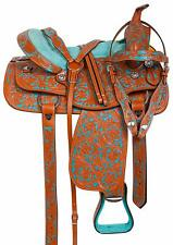 Cowhide Leather Natural Turquoise Painted Western Barrel Horse Saddle Set 14 in""