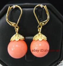 Mode, femme ,10mm corail rose , Dormeuses boucles d'oreilles