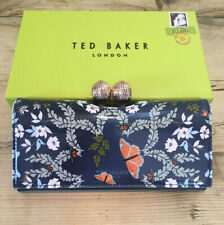Genuine Ted Baker Milissa Kyoto Gardens Mid Blue Leather Matinee Purse Boxed