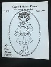 """Antique Lyn's Doll House Pattern Girl's Britany Dress Year 1910 S22""""-24"""" Uncut"""