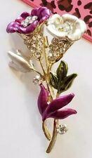 Fashion Crystal Morning glory Flower purple enamel Women's Brooch Pin
