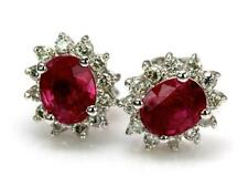 Natural Ruby White Gold Fine Earrings