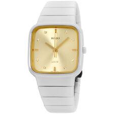 Rado R28900702 Watch R5.5 Ladies - Gold Dial White Ceramic Case Quartz Movement