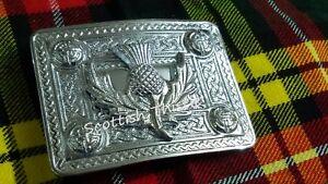 ST Scottish Kilt Belt Buckle Thistle Crest Chrome Finish Highland Buckles Celtic