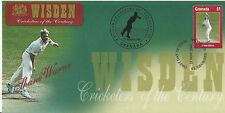 GRENADA WISDEN 2000 CRICKET SHANE WARNE 1v FIRST DAY COVER No 3 of 8