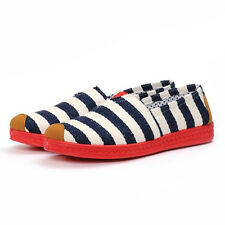 Lao Beijing Classic Stripes Canvas Comfortable Flat Shoes for Ladies EU Size 40