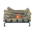 Electric Real Wood Logged Fireplace Crackling Logs Sound with Cast Iron Grate