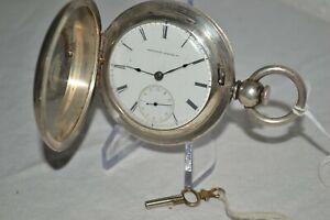 1871 NATIONAL WATCH CO. 5oz Silver Hunter Case 18s KEY WIND Andersen Co. ELGIN