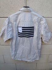 Chemise SERGE BLANCO drapeau QUINZE 15 rugby beige M manches courtes