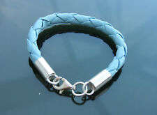 Baby Braided Leather Cord Bracelets with 925 Silver Clasp and Ends Pink or Blue