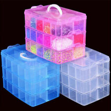 3 Layers 18 Compartments Clear Storage Box Container Jewelry Bead Case Organizer