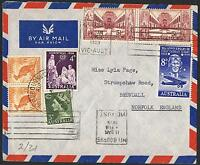 1958 Memorial pair, 8d Kingsford Smith etc on 1959 airmail cover to the UK TS350