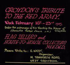 Glass Magic Lantern Slide CROYDON FLAG SELLERS THEATRE ADVERT DATED FEB 1945