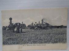Threshing Wheat Western Canada No3 Steam Engine Tractor Postcard
