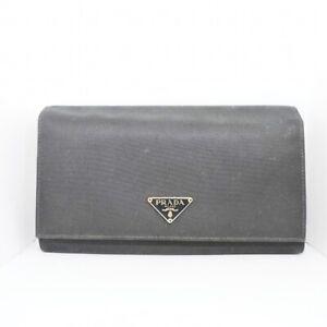 Auth PRADA Black Nylon Leather Long Wallet