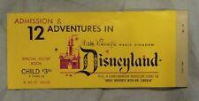 Vintage 1960s Disneyland Theme Park Child Ticket Book 12 Adventures