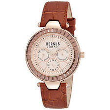 NEW WOMENS VERSUS BY VERSACE (SOS050015) SERTIE ROSE GOLD BROWN LEATHER WATCH