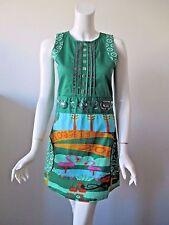 Rosalita McGee SPAIN Green Prints Sequin Crew Neck Sleeveless Mini Dress XS
