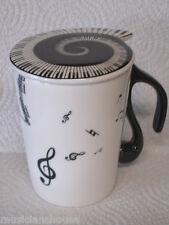Músico taza de café taza de té con tapa de profesor de música Teclado Player Piano Regalo