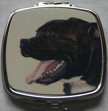 STAFFORDSHIRE BULL TERRIER DOG COMPACT MIRROR DESIGN PRINT SANDRA COEN ARTIST