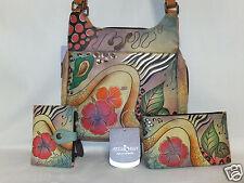 Anuschka 3Pcs Set  Med Handbag / Purse & Wallet & Cosmetic Bag Floral Abstract