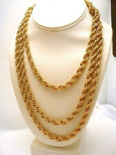 Double Link Necklace Goldtone Textured Chain Vintage 60 inches